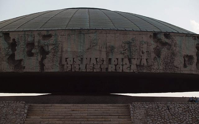 The mausoleum at the Majdanek concentration camp outside Lublin, Poland. Under the dome are the ashes of the victims of a November 1943 mass execution that completed the liquidation of the Jewish population of the Lublin district. (photo credit: CC BY-ND Kasia/Flickr)