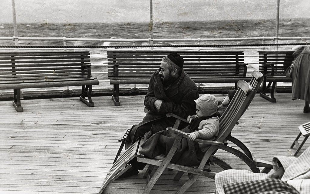 "Shot by New York Photo League member Louis Stettner, ""Coming to America"" depicts a Jewish immigrant and his child, and was on display at San Francisco's Contemporary Jewish Museum. (Courtesy of the Contemporary Jewish Museum)"