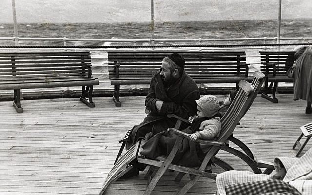 "Shot by New York Photo League member Louis Stettner, ""Coming to America"" depicts a Jewish immigrant and his child and is currently on display at San Francisco's Contemporary Jewish Museum. (Courtesy of the Contemporary Jewish Museum)"