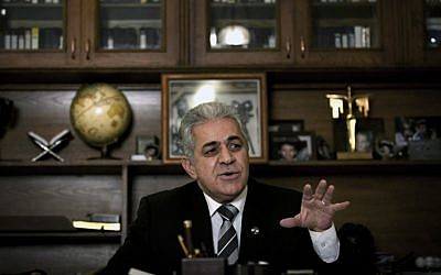 Egyptian opposition leader Hamdeen Sabahi in his office in Cairo, Egypt, Monday, December 24, 2012 (photo credit: Nasser Nasser/AP)