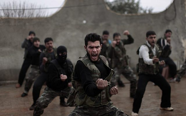 Syrian rebels attend a training session in Maaret Ikhwan, near Idlib, Syria, in December 2012. (photo credit: AP Photo/Muhammed Muheisen)