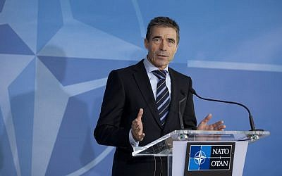 Anders Fogh Rasmussen speaks in Brussels, Tuesday (photo credit: Virginia Mayo/AP)