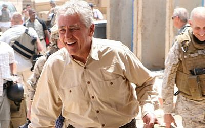 Chuck Hagel arrives at Camp Ramadi, in central Iraq, for a short visit with US servicemen, July 22, 2008. (photo credit: courtesy United States Marine Corps)