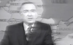 """Influential American newscaster Walter Cronkite devoted attention to the activists' flashy, failed escape attempt on """"The CBS Evening News."""" (YouTube screenshot"""