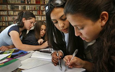 Illustration of high school students studying for the matriculation exams, April, 2007. (photo credit: Michal Fattal/Flash90.)