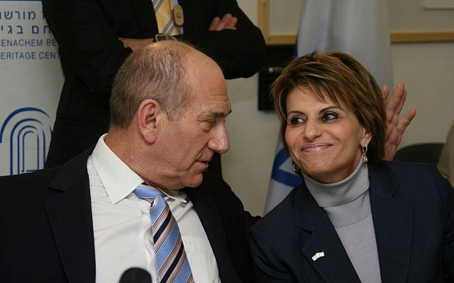 Prime minister Ehud Olmert with Dalia Itzik in 2008 (Photo credit: Anna Kaplan/ Flash90)