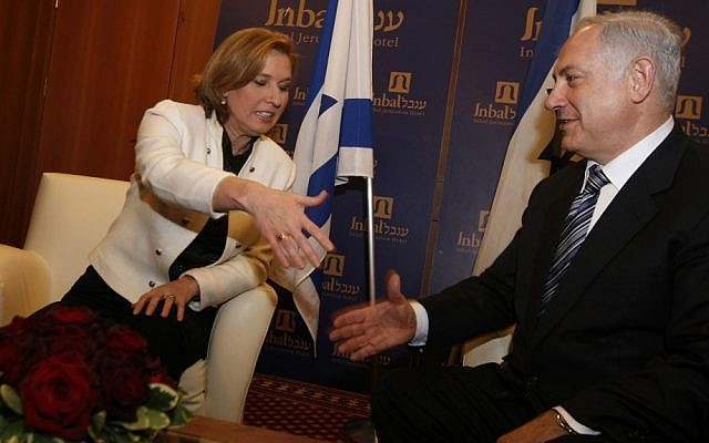 Tzipi Livni and Benjamin Netanyahu in 2009. (photo credit: Miriam Alster/Flash90)