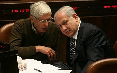 Benny Begin (L) with Benjamin Netanyahu, in the Knesset in 2012 (Miriam Alster/Flash90)