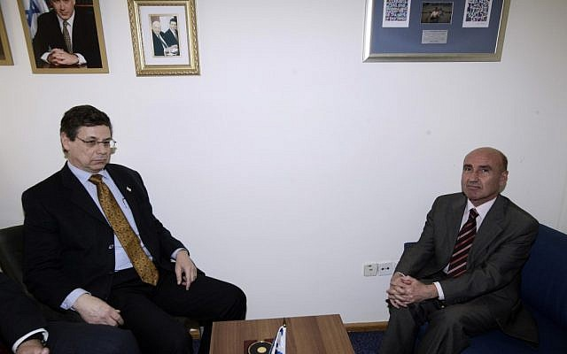 Danny Ayalon (left) with Turkey's ambassador to Israel, Ahmet Oguz Celikkol, during a meeting in 2010. (photo credit: Abir Sultan/Flash90)