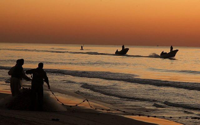 Illustrative photograph of Palestinian fishermen at the port in Gaza City. (photo credit: Wissam Nassar/Flash90).