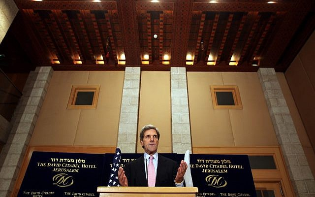 John Kerry giving a press conference in Jerusalem in 2010. (photo credit: Yossi Zamir/Flash90)