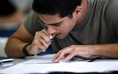 Students in Hartman secondary school in Jerusalem take matriculation exams in mathematics in 2010 (photo credit: Yossi Zamir/Flash90)