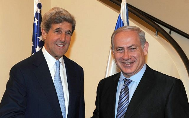 Prime Minister Benjamin Netanyahu meets then-senator and current Secretary of State John Kerry in Jerusalem, June 2010. (Photo credit: Moshe Milner/GPO/Flash90)