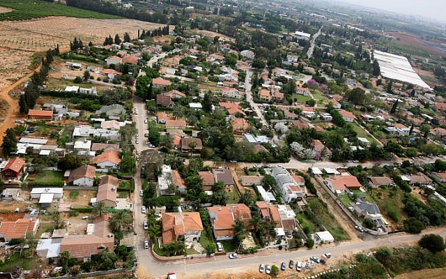 An aerial view of Moshav Bnei Zion in southern Israel (photo credit: Moshe Shai/Flash90)