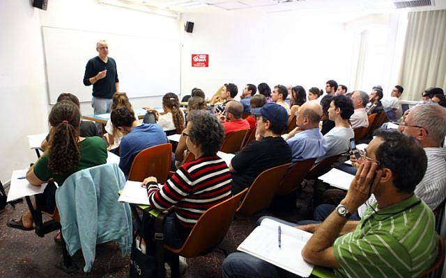 Illustrative: Students attend a lecture at the Hebrew University in Jerusalem. (Abir Sultan/Flash90)