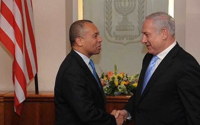 Prime Minister Benjamin Netanyahu shakes hands with Massachusetts Governor Deval L. Patrick during the governor's recent visit to Israel (photo credit: Amos BenGershom/GPO/Flash90)