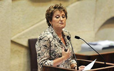 Former deputy interior minister Faina Kirshenbaum at the Knesset, July 20, 2011. (Omer Miron/Flash90)
