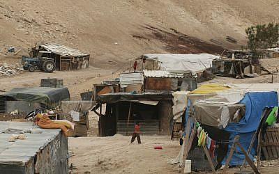 An unrecognized Bedouin village in the northern Negev (photo credit: Kobi Gideon/Flash 90)