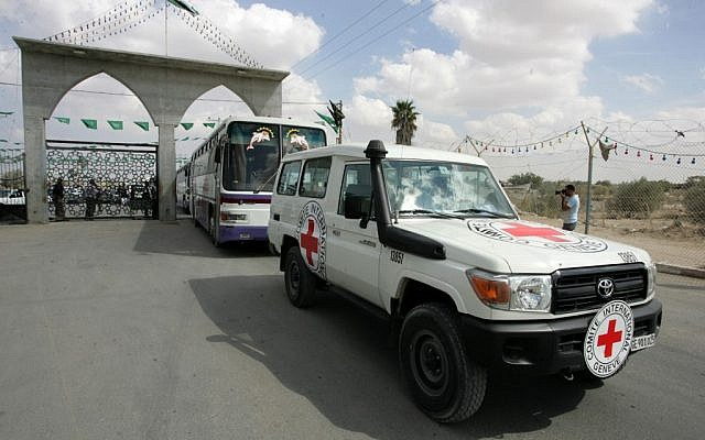 A Red Cross vehicle passes through the Rafah border crossing, October 17, 2011 (photo credit: Abed Rahim Khatib/Flash90)