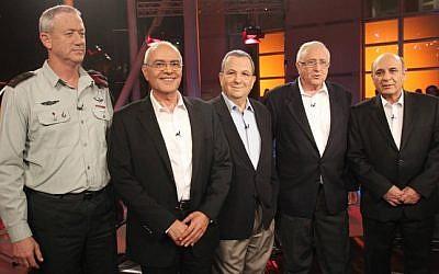 Illustrative: Former IDF chiefs of staff (from left) Benny Gantz, Dan Halutz, Ehud Barak, Amnon Lipkin-Shahak and Shaul Mofaz in Tel Aviv, October 2011 (Meir Partush/Flash90)