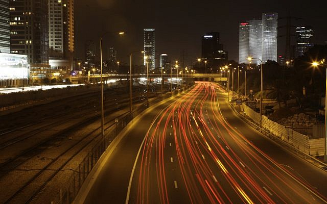 The Ayalon Highway in Tel Aviv at night. (photo credit: Haim Shohat/Flash90)