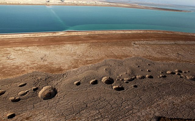 Aerial view of sinkholes on the Dead Sea shoreline, September 30, 2010. (Yuval Nadel/Flash90)