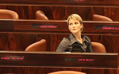 MK Anastassia Michaeli attends a Knesset session on January 10, 2012. (photo credit: Yossi Zamir/Flash90)