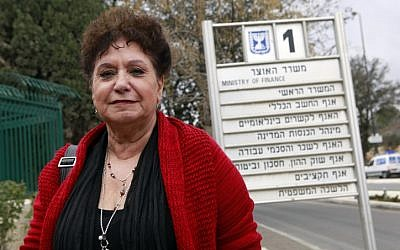 National Nurses Union Chairwoman Ilana Cohen outside the Finance Ministry in February (photo credit: Uri Lenz/Flash90)