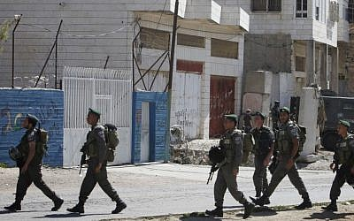 Israeli Border Police on patrol in Hebron earlier this year (photo credit: Miriam Alster/Flash90)