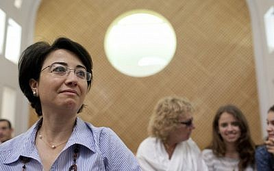 Arab MK Hanin Zoabi (Balad) attends a hearing at the Supreme Court in Jerusalem to plead for the return of her diplomatic passport, which was taken away due to her participation in the 2012 flotilla to Gaza (photo credit: Yonatan Sindel/Flash90)