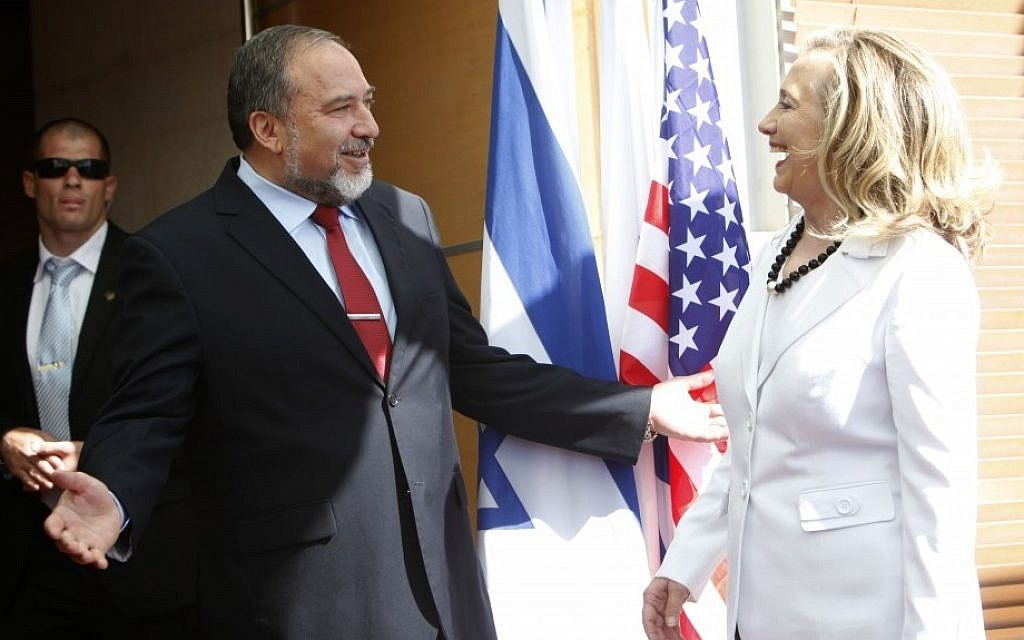 Foreign Minister Avigdor Liberman meets with US Secretary of State Hillary Clinton at the Foreign Ministry in Jerusalem, in July (photo credit: Miriam Alster/FLASH90)