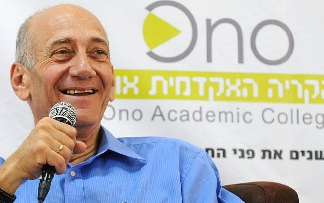 Former Israeli prime minister Ehud Olmert speaks at the Ono Academic college on August 12, 2012. (photo credit: Yossi Zeliger/FLASH90)
