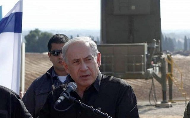 With Iron Dome at his back, Prime Minister Benjamin Netanyahu ranks 23 on Forbes Magazine's list of World's Most Powerful People (photo credit: Flash90)