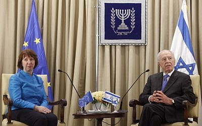 Israeli President Shimon Peres and EU foreign policy chief, Catherine Ashton, at a meeting in October 2012. (photo credit: Miriam Alster/ FLASH90)