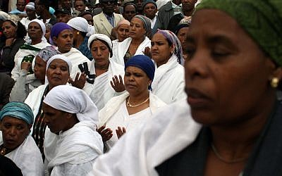 Ethiopian women participating in a prayer service outside Jerusalem in 2011. (photo credit: Yoav Ari Dudkevitch/Flash90)