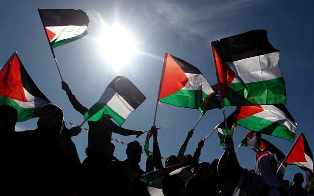Palestinians wave their national flag during a celebration rally marking the UN General Assembly's upgrading of the Palestinians' status from 'observer entity' to 'nonmember state,' in the West Bank city of Ramallah, December 2, 2012 (photo credit: Issam Rimawi/Flash90)