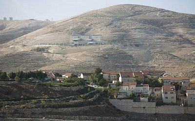 A view of the Jewish West Bank settlement of Ma'aleh Adumim, with controversial E1 tract in the background (photo credit: Yonatan Sindel/Flash90)