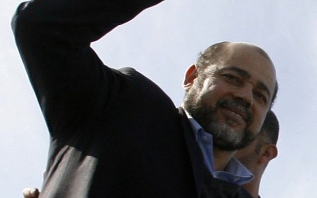 Moussa Abu Marzouq upon arrival in Gaza, December 7 (photo credit: Abed Rahim Khatib/Flash90)