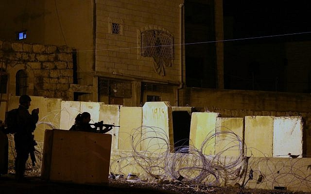 The IDF position where the Palestinian was shot Wednesday night. (photo credit: Oren Nachshon/Flash90)