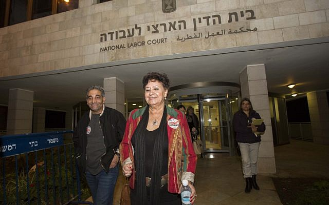 Nurses Union chairwoman Ilana Cohen leaves the National Labor Court in Jerusalem on Thursday, December 13, 2012. (photo credit: Yonatan Sindel/Flash90)