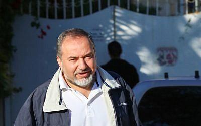 Avigdor Liberman outside his home in the settlement of Nokdim (photo credit: Oren Nahshon/Flash90)