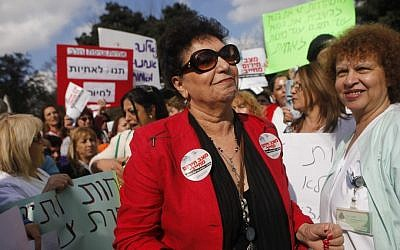 Ilana Cohen, chairwoman of the National Association of Nurses, with hundreds of nurses from all over Israel during a protest in Jerusalem, December 17, 2012 (photo credit: Miriam Alster/Flash90)