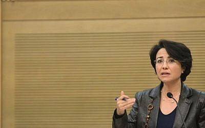 Arab Knesset member Hanin Zoabi holds a press conference in the Knesset. (photo credit: Miriam Alster/Flash90)