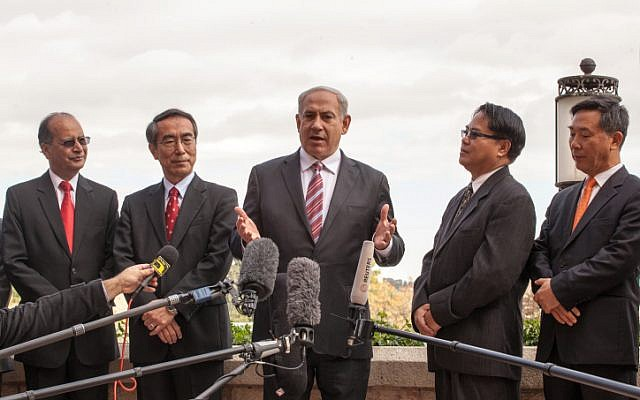 Prime Minister Benjamin Netanyahu speaks to Asian ambassadors to Israel at the King David Hotel in Jerusalem (photo credit: Uri Lenz /Flash90)