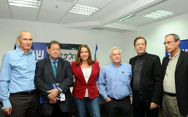Labor Party members hold a press conference in Tel Aviv on Sunday, December 23 (photo credit: Flash90)