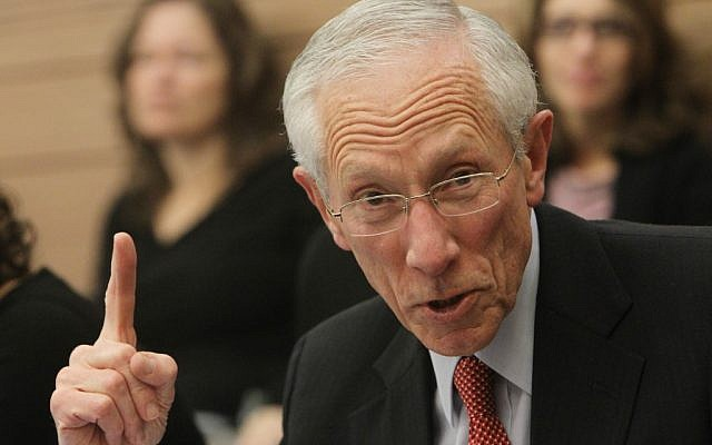 Former Bank of Israel Governor Stanley Fischer addressing the Knesset Finance Committee in December 2012 (photo credit: Miriam Alster/Flash90)