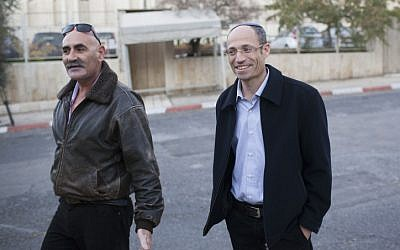 Gush Etzion Regional Council head David Perl (right) and the Jordan Valley Regional Council head David Elhayani arrive at the Prime Minister's Office in Jerusalem, Wednesday (photo credit: Yonatan Sindel/Flash90)