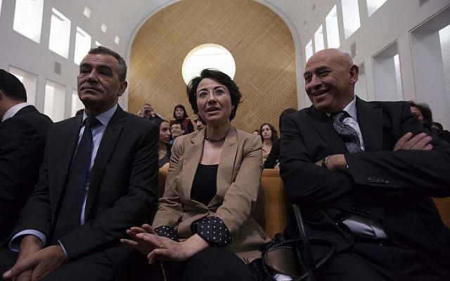 Hanin Zoabi (center) and Jamal Zahalka (left) at the High Court of Justice (photo credit: Yonatan Sindel/Flash90)