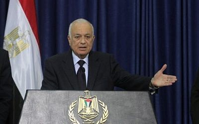 Arab League Secretary General Nabil Elaraby speaks at a press conference in the West Bank city of Ramallah on Friday,  December 29. (Issam Rimawi/Flash90)