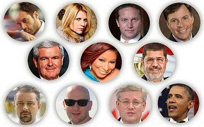 Major newsmakers in 2012 included, from left to right, top to bottom: Benjamin Millepied, Claire Danes, Istvan Ujhelyi, Bob Costas, Newt Gingrich, Chaka Khan, Mohammed Morsi, Brian Flynn, Ryan Parry, Stephen Harper and Barack Obama. (Graphics by Uri Fintzy via JTA)